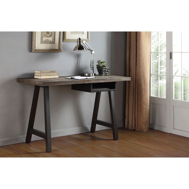Simple Yet Stylish The Renate Desk And Shelf Unit Features An Unuming Style With A Distressed Latte Colored Top Mounted On Two Black Finished