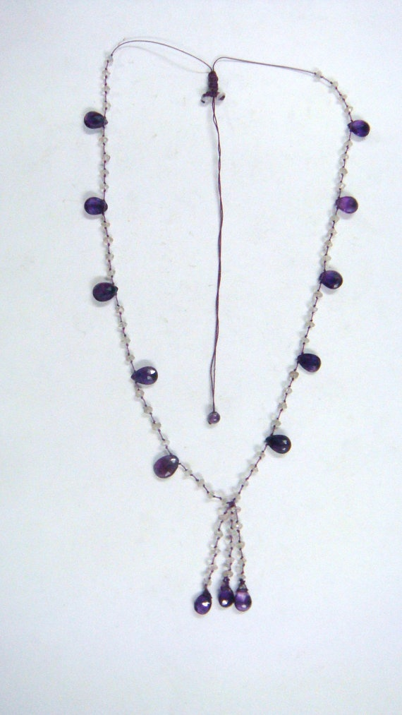 Macrame Necless with Rainbow moonstones and by finegemsjewelery, $18.00