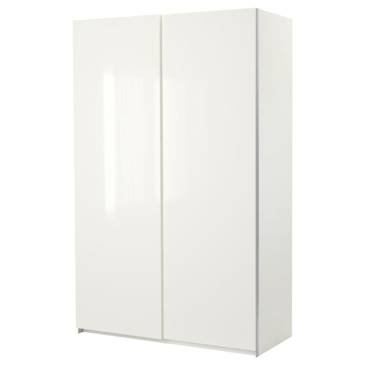 """PAX Wardrobe with sliding doors - Hasvik high gloss/white, 59x25 3/4x79 1/4 """" - IKEA"""