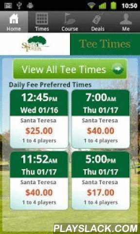 Santa Teresa Tee Times  Android App - playslack.com , The Santa Teresa Golf Course app includes custom tee time bookings with easy tap navigation and booking of tee times. The app also supports promotion code discounts with a deals section, course information and an account page to look up past reservations and share these reservations with your playing partners via text and email.
