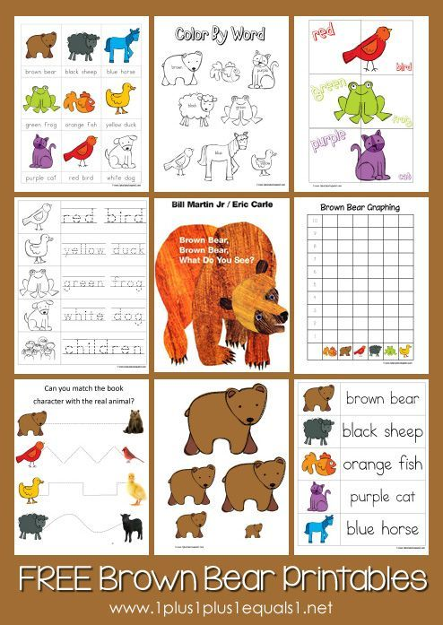 Free Brown Bear Brown Bear Printables from www.1plus1plus1equals1.net