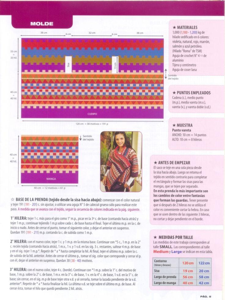 Patrones Crochet: Chaqueta-Sacon Media Manga Patron Texto