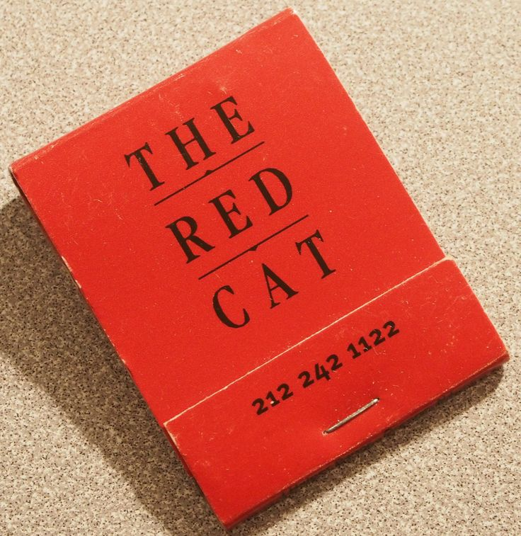 The Red Cat. NYC. Circa 2002. USA 20 stem  book match. Pic. by Joe Danon. To Order Branded matches to promote your Business call 800.605.7331 or GoTo: www.GetMatches.com