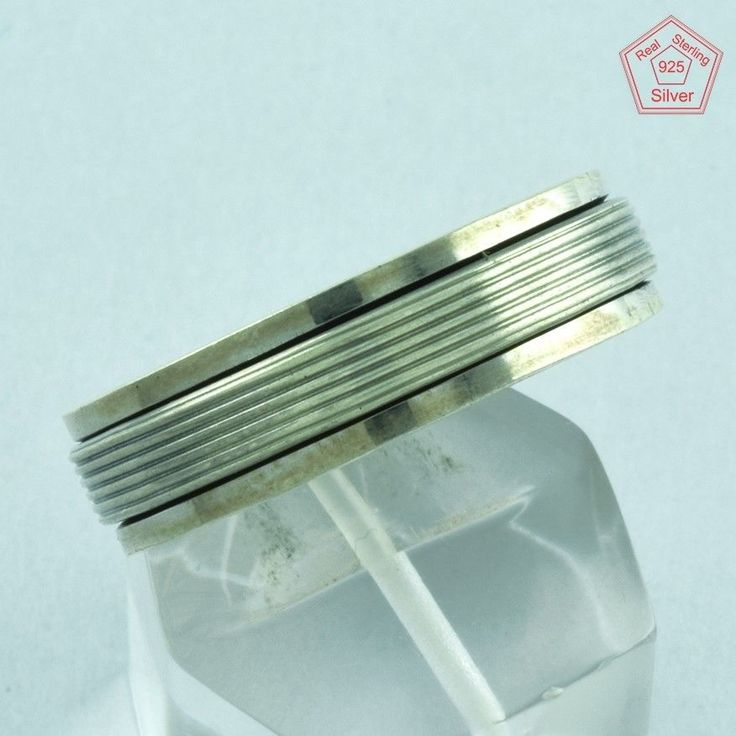 Simple Design 925 Sterling Silver Spinner Ring S.13 US R2699…