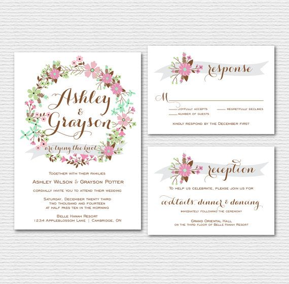 items similar to printable wedding invitation set pink and gray floral wreath invitation and rsvp card garden wreath wedding suite customizable colors