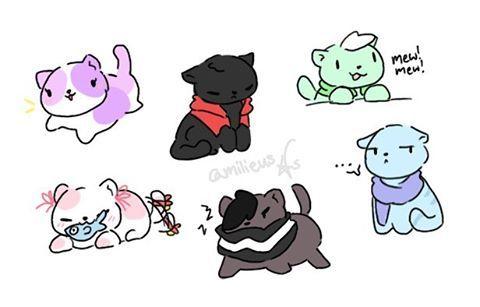 Aphmau, Aaron, Travis, Kawaii~Chan, Zane, and Garroth as cats!