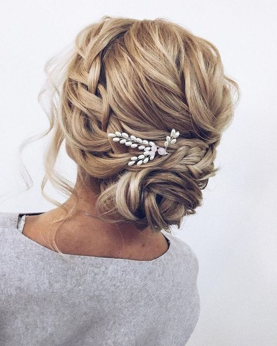 Wedding Messy Bun hairstyle with ornaments
