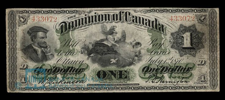 Dominion of Canada Dollar, 1870 - With confederation in 1867, the first truly national Canadian dollar came into being. Image courtesy of the Bank of Canada | #banknote #money