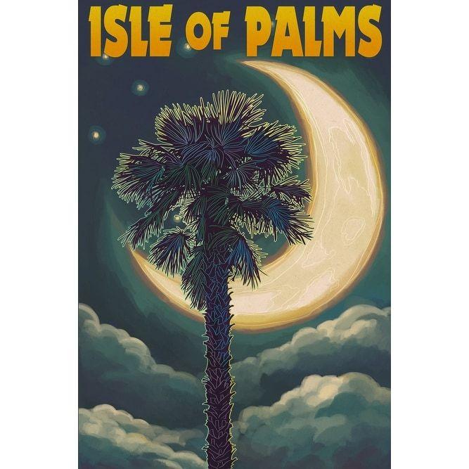 Isle of Palms, South Carolina - Palmetto Moon & Palm - Lantern Press Artwork (Acrylic Serving Tray)