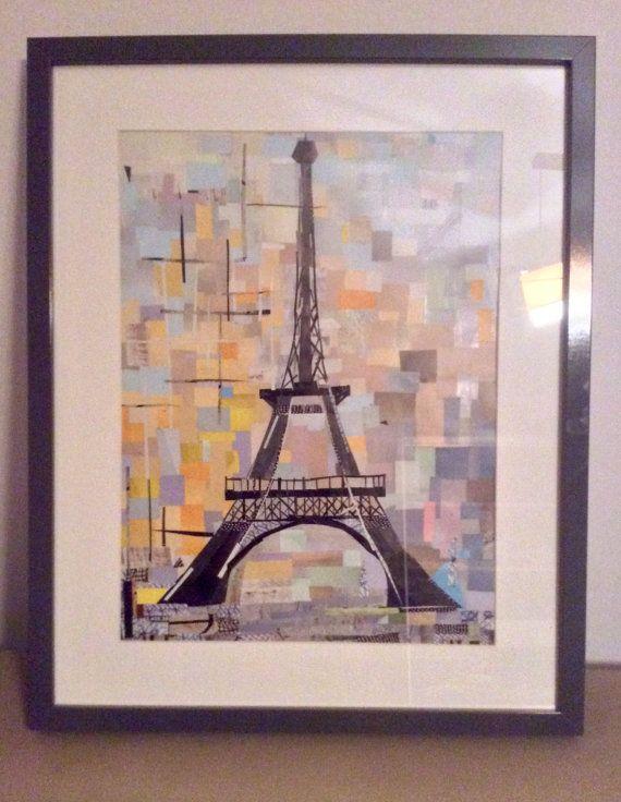 Paper-Art by aPieceOfPaperCity on Etsy, Eiffel Tower, Paris, France, Wieża Eiffela, Paryż,