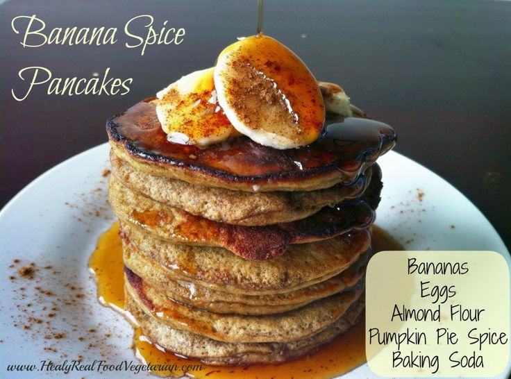 These fluffy banana spice pancakes are a wonderful Saturday morning gluten-free and grain-free breakfast idea that requires minimal effort. / http://www.healyrealfoodvegetarian.com/grain-free-banana-spice-pancakes/