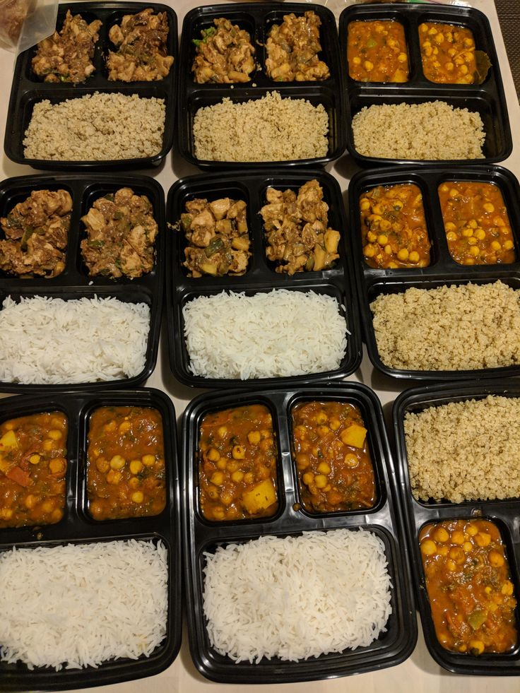 Moroccon Chickpea Curry & Kung Pao Chicken with Rice & Quinoa for Lunch and Dinner. (Not shown: Oatmeal Banana Muffins for breakfast with boiled eggs and sausages).