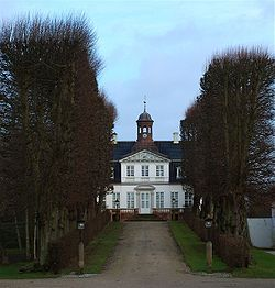 "Sorgenfri Palace (Danish: Sorgenfri Slot; lit. ""carefree"", like Sans Souci) is a royal residence of the Danish monarch, located in the Lyngby-Taarbæk municipality in Greater Copenhagen."