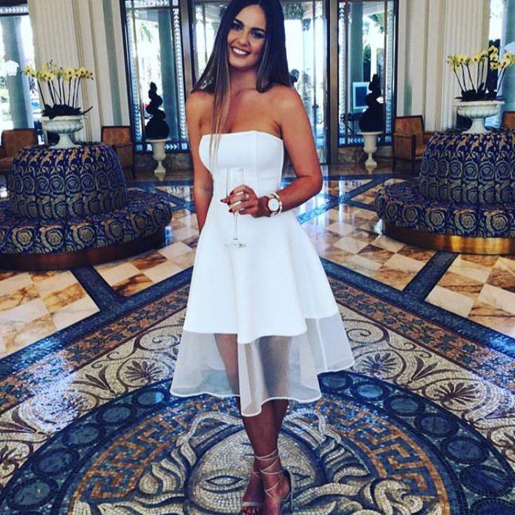 A-line White Sleeveless Prom Dress, Strapless Homecoming Dress,