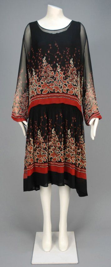 Printed and Beaded Chiffon Day Dress, 1920s.