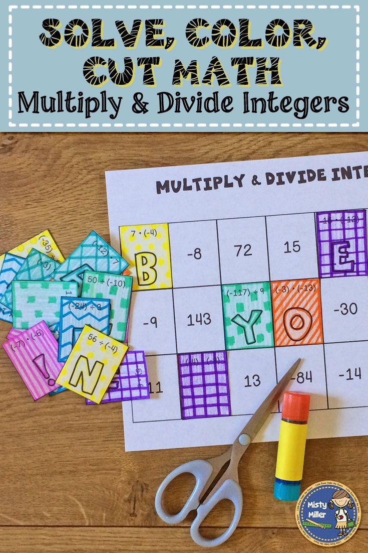 Pin On Self Checking Multiplying integers coloring worksheet