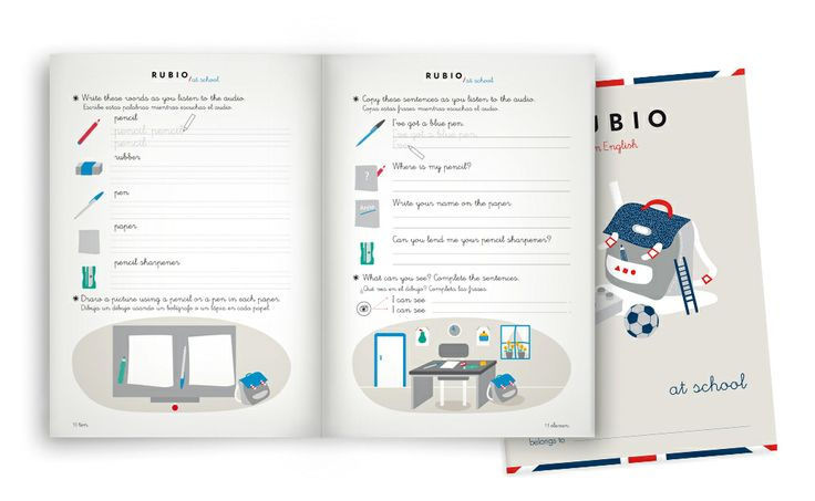 Cuadernos Rubio in English. 'In English' workbook collection aims to strengthen the basic knowledge on English Language and make children get used to the fundamental basis. They follow a thematic series that group everyday items of a child's world.