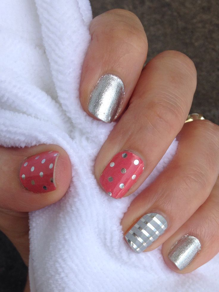 Jamberry Icy Rose Polka, Gray and Silver Pinstripe with silver polish. Could also use Jamberry Diamond Dust Sparkle wraps! www.DawnSK.JamberryNails.net