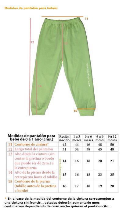 Medidas pantalón de bebé