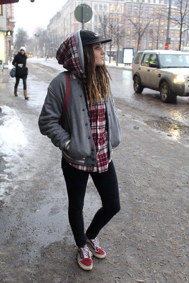 Walking down a snowy city / street wear casual fashion vans girl