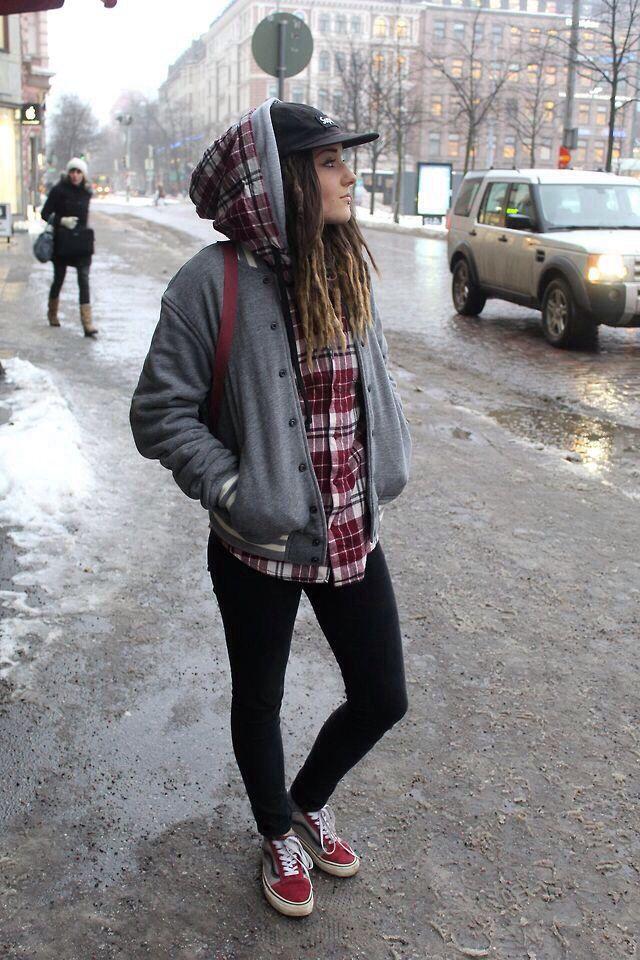 Walking down a snowy city / street wear casual fashion vans girl