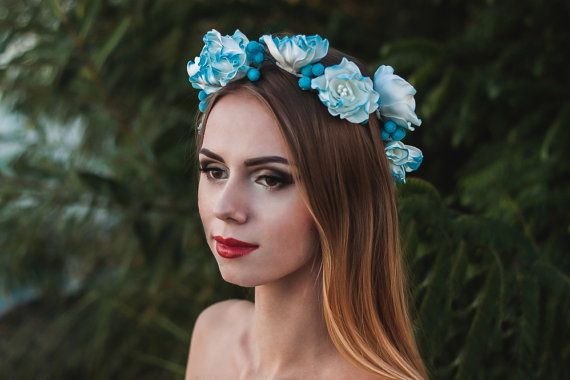 White blue flower crown floral hair wreath Floral accessory Wedding Boho girl flower crown Floral asymmetrical headband Festival Event Gift