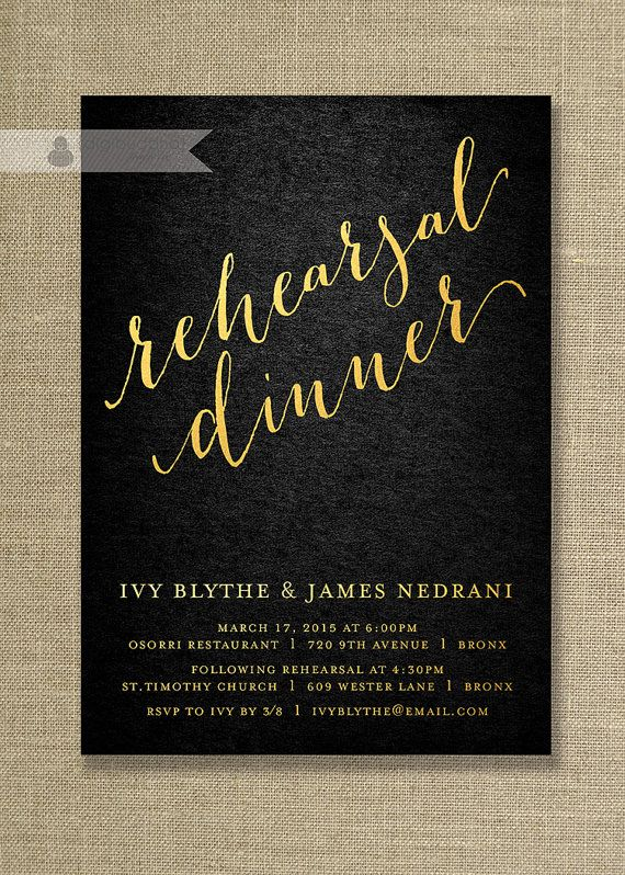 20 best formal invitations images on pinterest formal invitations gold black rehearsal dinner invitation in formal metallic gold and textured black classic stopboris Choice Image