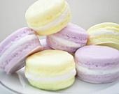 Food Soap - French Macaron Soap - French Macaroon - pastel lavender purple & butter lemon yellow