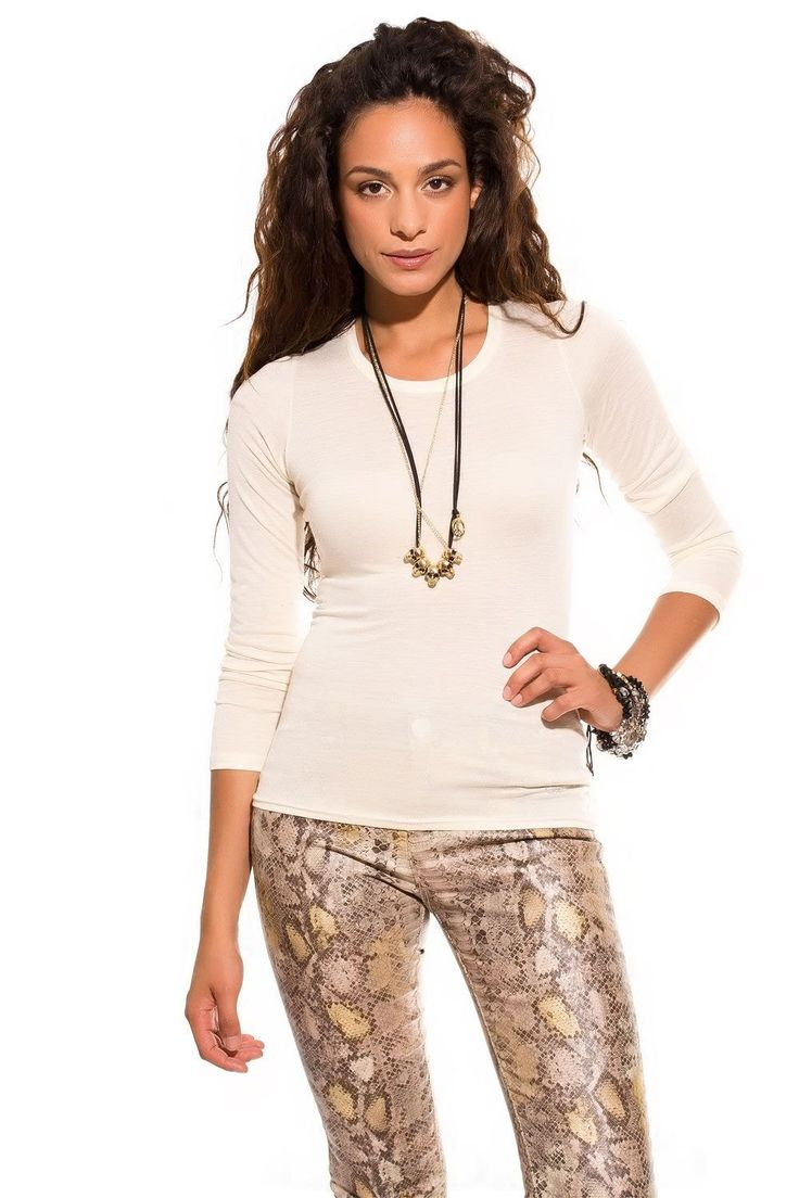 Beige t-shirt in speckle fabric