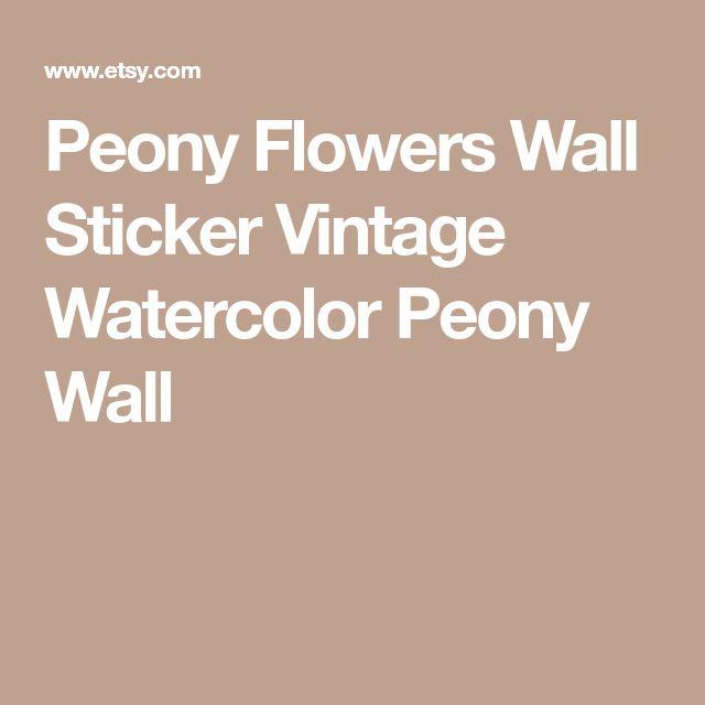 Peony Flowers Wall Sticker Vintage Watercolor Peony Wall