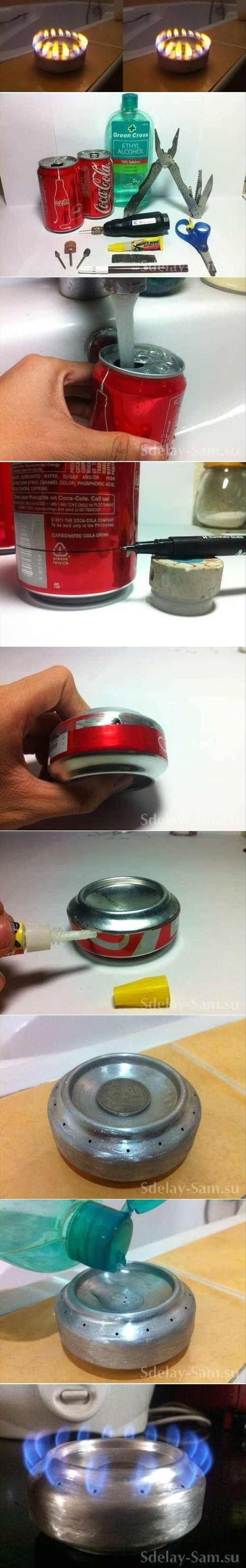 DIY alcohol stove from a soda can