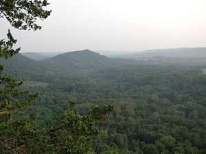 Typical terrain of The Driftless Area as viewed from Wildcat Mountain State Park in Vernon County, Wisconsin. Retreating glaciers leave behind silt, clay, sand, gravel, and boulders — called drift. Glacial drift includes till (unsorted material) and outwash (layers deposited by meltwater streams). http://www.town-of-wheatland.com/Driftless-Area.html - justintrails.com