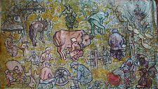 Russian Ukrainian Soviet Oil Painting Nonconformist rural country babushka kid