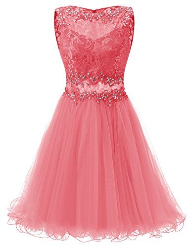 Dresstells® A Line Short Tulle Prom Dress With Lace H...…