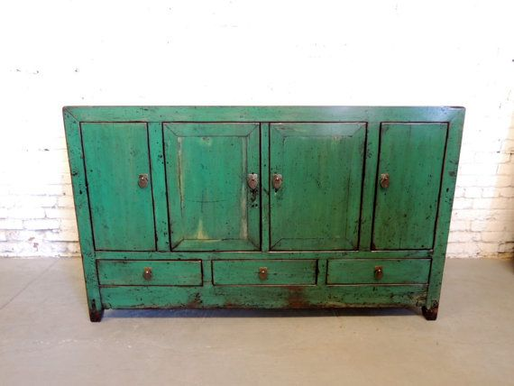 Antique Chinese Storage Credenza In Distressed Emerald Green (Los Angeles)