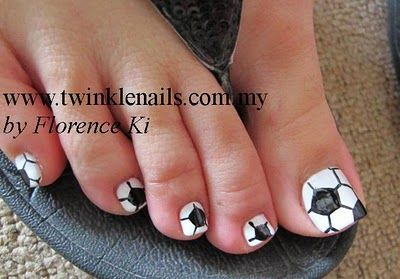 Soccer Nails too cute!! Im gonna have to do this when my son starts soccer