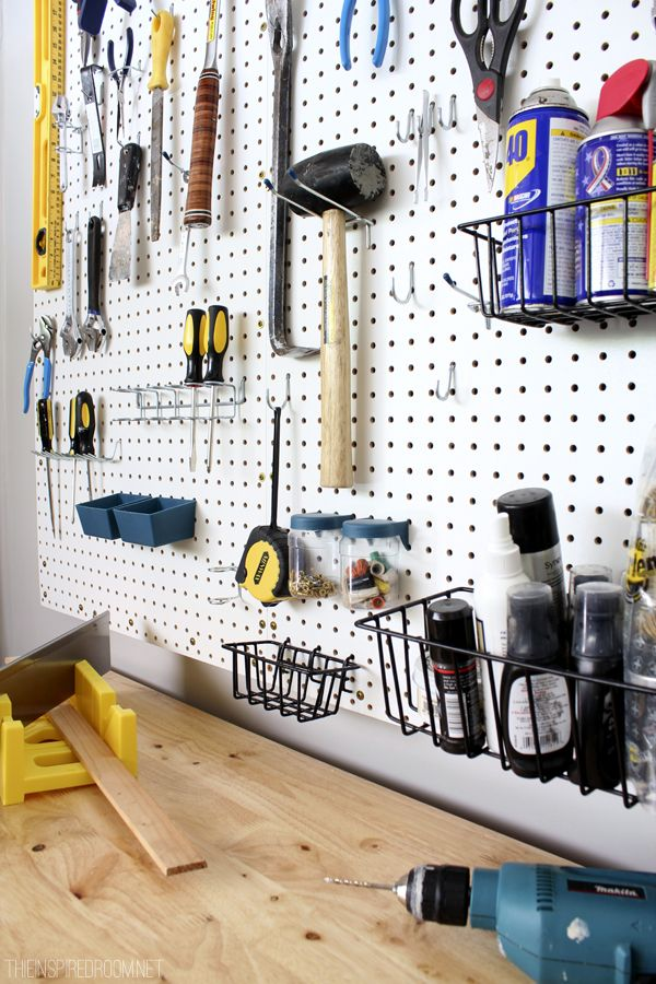 Pegboard Organization / Garage Ideas- love this idea!!  I've got all the hooks already.  Just need the pegboard and garage now. lol.