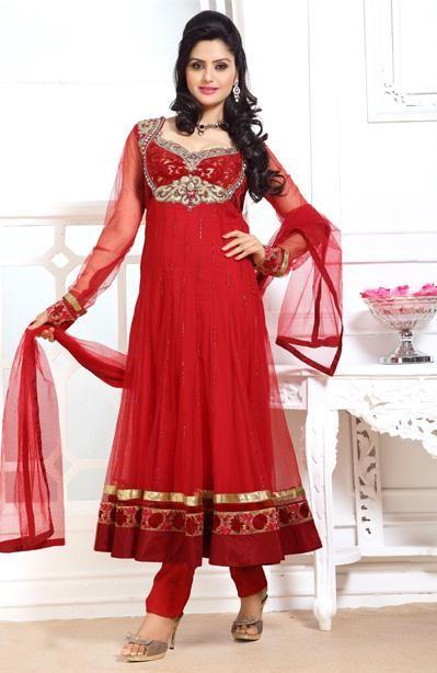 USD 155.18 Red Bead Work Long Anarkali Suit 31133