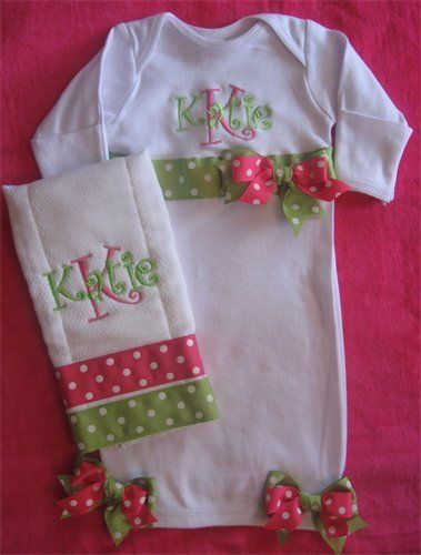 Monogrammed Infant Baby Gown Sleeper