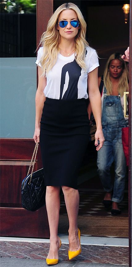 Cute work outfit idea | Kate Hudson-chic