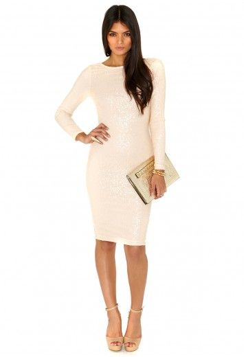 Lorianna Sequin Long Sleeve Midi Dress - Dresses - Missguided