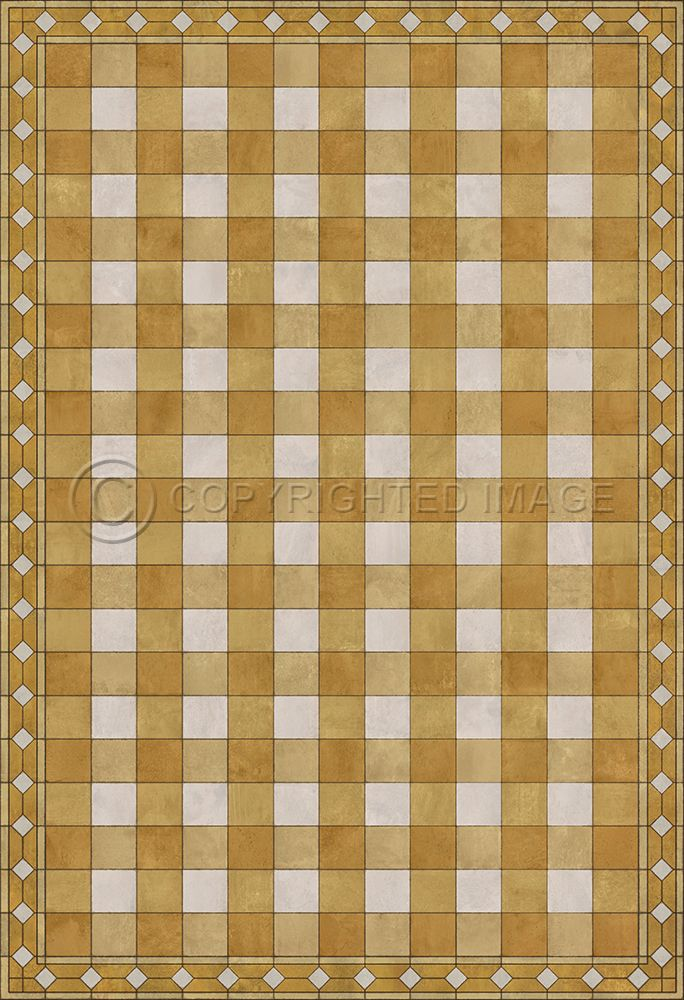 Gingham Tile Yellow Vinyl Floor Cloth In 2020 Vinyl Flooring Floor Cloth Flooring