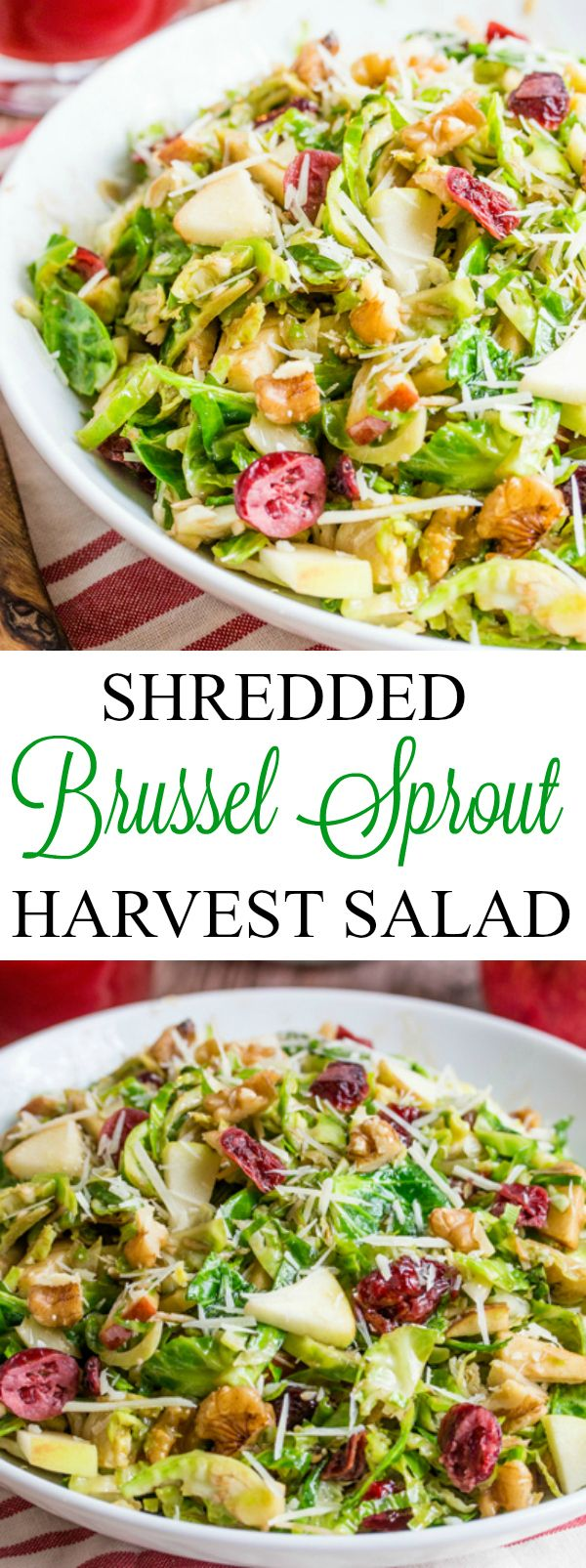 This Shredded Brussel Sprout Harvest salad is full of apples, cranberries, walnuts and parmesan and drizzled with a sweet and tangy maple balsamic dressing. #Prep4Gathering #ad