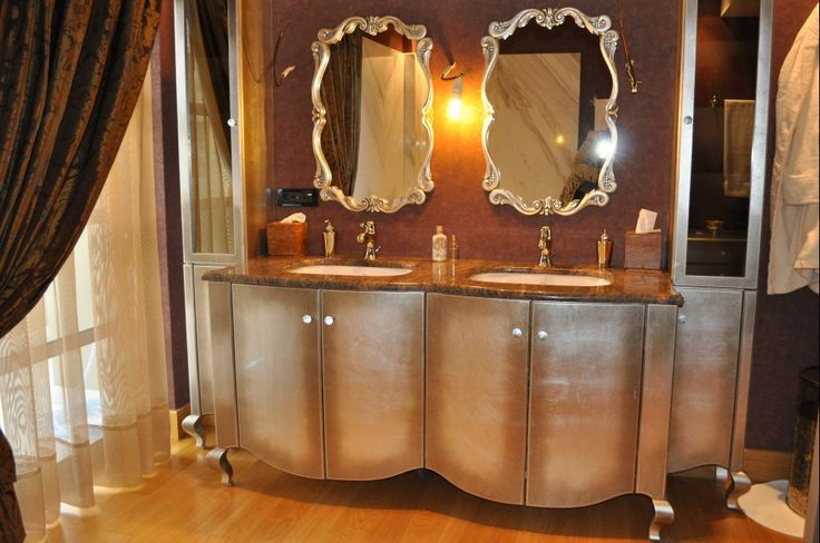 custom made bathroom unit, cabinet, double sink, gold and silver leaf, interior design