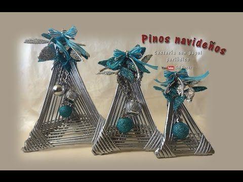 Pinos navideños, cestería con papel periódico - Christmas pins, basketry with newspaper - YouTube