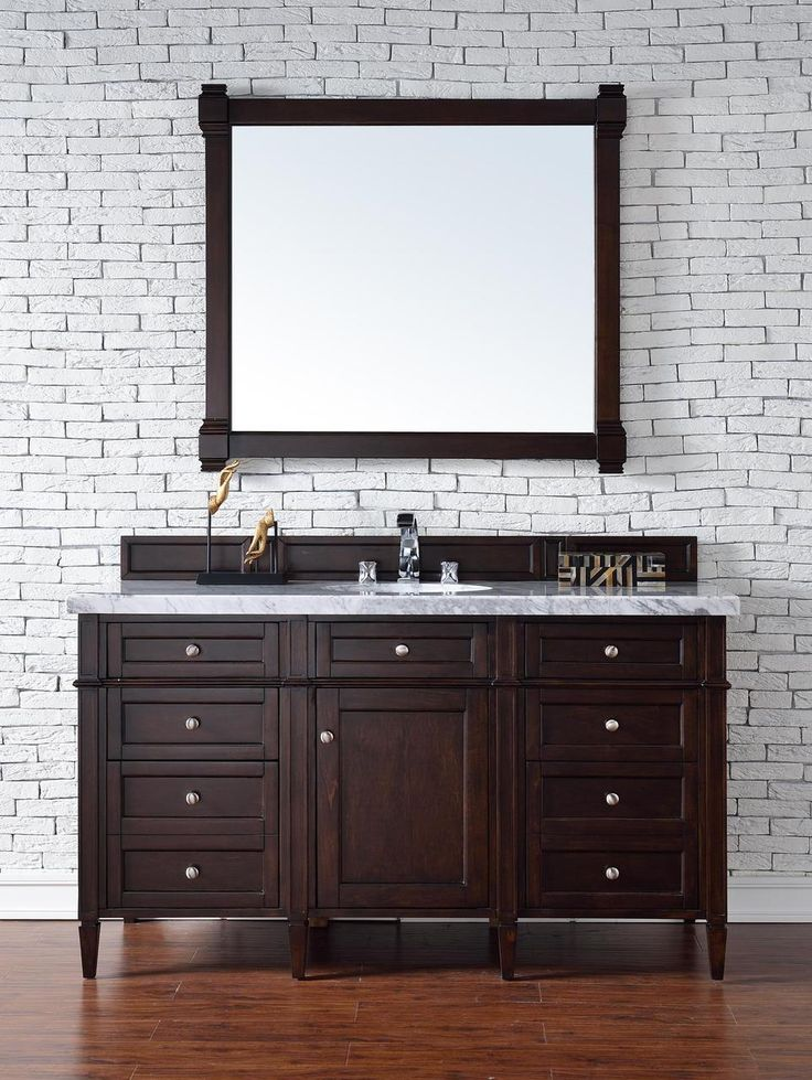 Abstron Contemporary 60 Inch Single Bathroom Vanity Mahogany Finish No Top