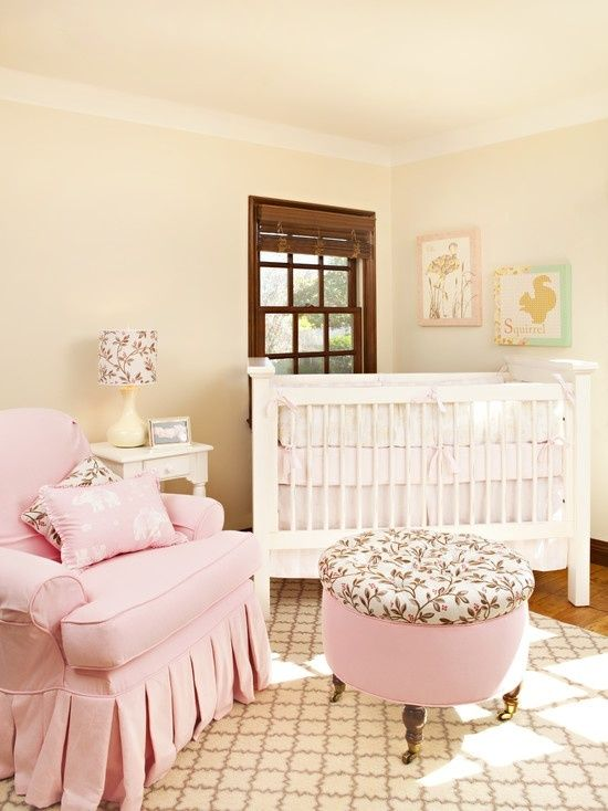 Soft pink and beige nursery! so warm and inviting. Love the rug too - it ads dimensions. SOO MANY IDEAS at http://ideasbabyroom.com
