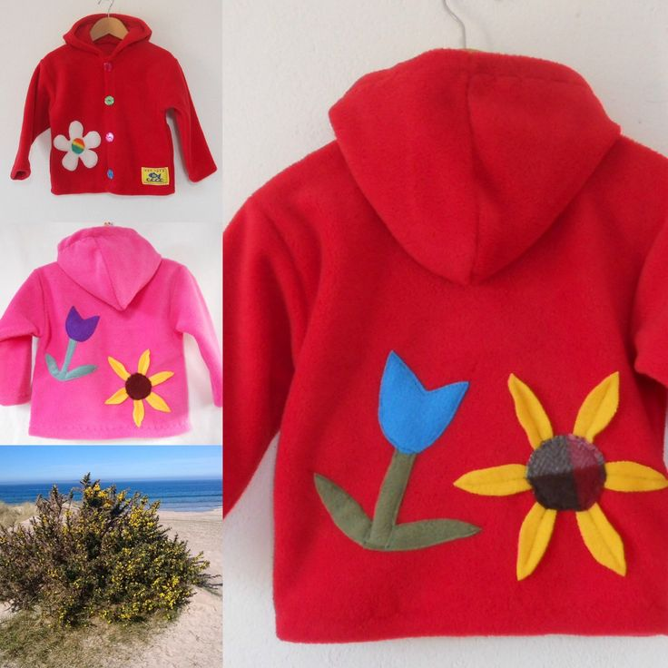 Funky girls fleece jacket 'Flower Meadow', always needed,always handy. Great for keeping them warm any time of the year, on a hike, after a swim, travelling.