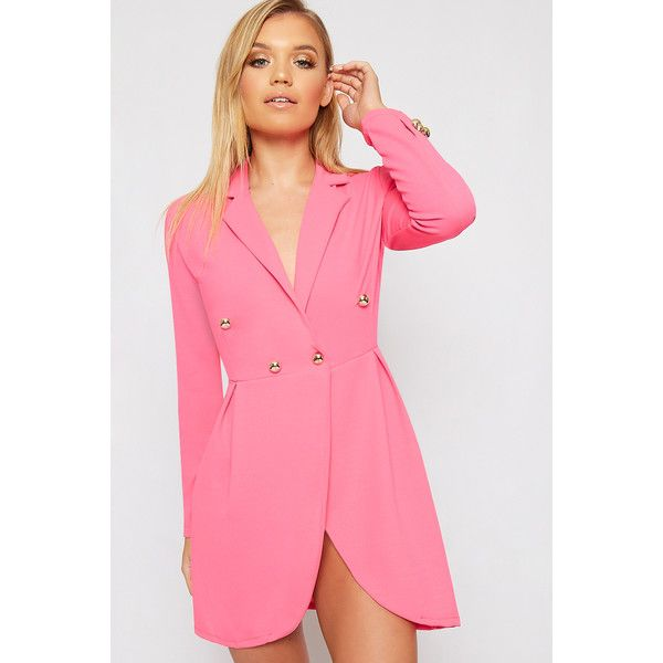WearAll Button Embellished Longline Blazer Dress ($35) ❤ liked on Polyvore featuring dresses, cerise, pink dress, formal dresses, embellished dress, long sleeve party dresses and holiday party dresses