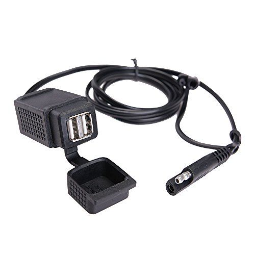 Cheap MICTUNING 3.1A Motorcycle SAE To 2 USB Adapter Cable Weatherproof Motor Power Socket Quick Disconnect USB Charger for iPhone iPad Cellphone Tablet MP3/MP4 Best Selling